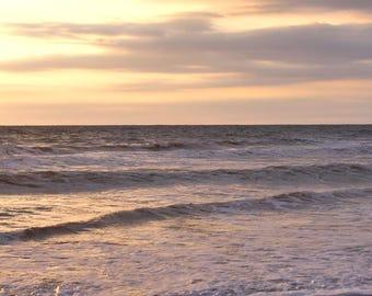 Ocean photography print 12x16, 16x20, ocean home decor, beach sunset large photo print, grey peach lavender gold wall art, calming sea print