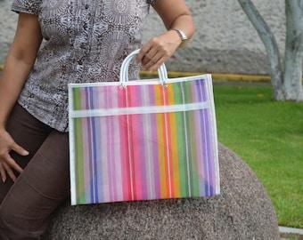 Mexican market mercado bag, shopping tote, Eco recyclable reusable handle bag