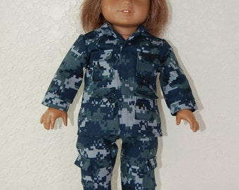 "Navy Camo Uniform for 18"" Dolls"