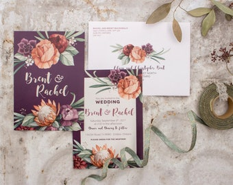 Protea, Peony and Succulent Wedding Stationery - SAMPLE - Botanical Floral Watercolour Wedding Invitations - Artwork by Alicia's Infinity