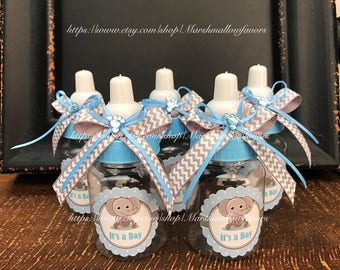 "12 small 3.5"" Elephant baby shower-Elephant  baby shower favors-blue and gray baby shower- elephant chevron gray and blue baby shower- boy"