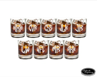 NINE Personalized Whiskey Glasses, SHIPS FAST, Etched Personalized Whiskey Glasses, Engraved Personalized Whiskey Glasses,  Rocks Glasses