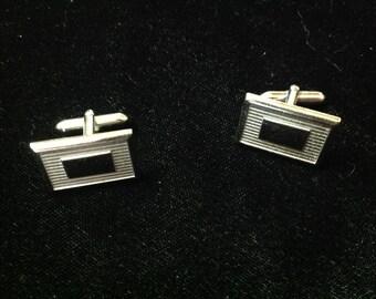 Vintage Swank silver tone men's cufflinks engraveable