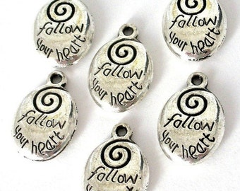 6 Follow your Heart charms, antiqued silver