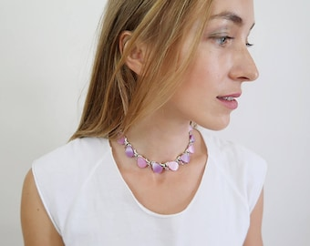 Vintage Pink and Purple Stone Collar Necklace