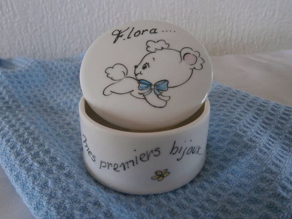 Jewelry box personalized porcelain handpainted my first