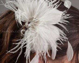 Bridal Feather Head Piece, Soft White or Light Ivory, Swarovski Rhinestone Center, Wedding Hair Birdcage Fascinator - Catalina