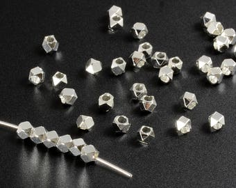 Diamond Cut Beads, 2.5mm, Silver Spacer Beads, Tarnish Resistant Beads, Lead Free, Brass Beads, Large Hole Beads, 1.3mm Hole