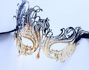 Black Gold Butterfly Masquerade Mask, Womens Venetian Mask with rhinestones
