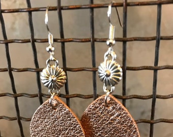 Rose Gold Leather Leaf Earrings with Concho