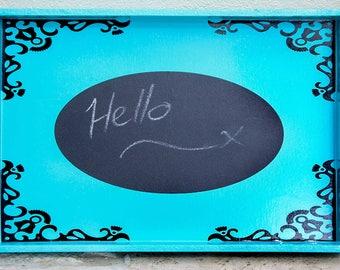 Teal Chalkboard tray