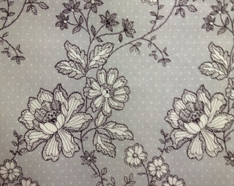 One Half Yard of Fabric Material - Floral Lace on Dots Charcoal