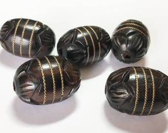 Carved Wood Beads, Wood Focal Bead, Natural Wood Beads, Ebony Wood with Brass Inlay 16x23 oval-1pc