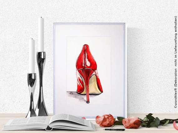 High Heels original water color painting stiletto shoe art