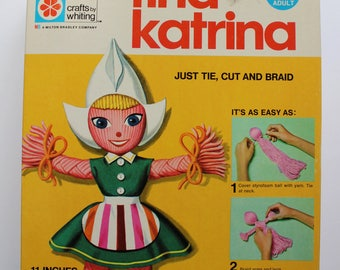Vintage Milton Bradley Tina Katrina Yarn Doll Kit 1971