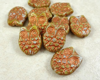 Owl Beads Czech Glass - Picasso Horned Owl Beads - Light Blue and Brown Mix with Copper Finish (MISC/RJ-2764) - 18x15mm - Qty. 4