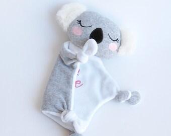 Security Blanket Personalized Lovey Koala Baby Shower Gift Blankie Mini Blanket Baby Koala Toy