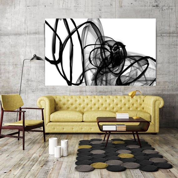 """Inside Out,  Black and White Contemporary Unique Abstract Wall Decor, Large Contemporary Canvas Art Print up to 72"""" by Irena Orlov"""