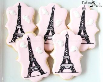 Eiffel Tower Decorated Cookies, Custom Cookies, Parisian Cookies, Decorated cookies, Paris Cookies