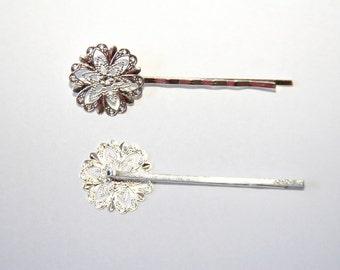 4 Piece silver hair clip SZ094