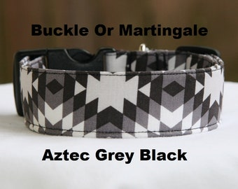 Personalized-Embroidered-Aztec-Navajo-Grey Black-Adjustable Buckle-Martingale Dog Collar-Small-Large Breed Dog-1 inch 1.5 -2 inch width