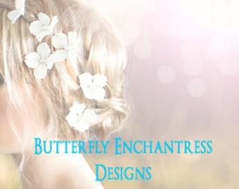Wedding Hair Flowers, Bridal Hair Accessories, Rustic Wedding Hairpins - 6 White Hydrangea Hair Pins - Rhinestone Centers