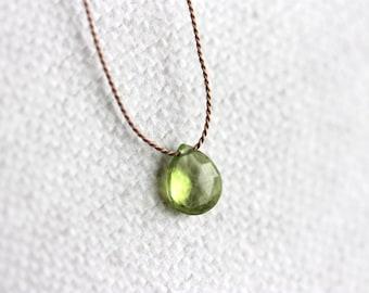 Peridot Necklace, Silk Thread,  Sterling Silver, Tiny Peridot Drop, Green Gemstone, August Birthstone