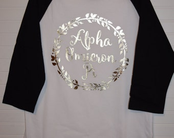 Alpha Omicron Pi 102 Jersey with Contrast Sleeves and Gold Foil Design