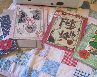 Lot ONE Vintage Style Handmade Valentines 4 Cards with Envelopes