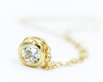 Tiny CZ 14k Gold Necklace, Dainty 14k Gold Necklace, Cubic Zirconia Necklace, CZ Necklace, minimal, 14k gold necklace