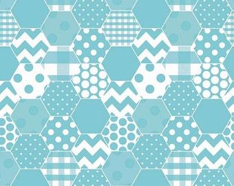 04425 - Riley Blake Hexi print in Aqua color cotton fabric - 1/2 yard