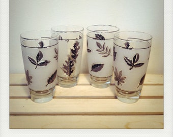 Set of 4 Libbey Frosted Leaf Glasses