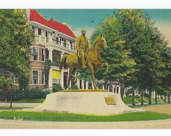 Vintage Linen Postcard, Castleman Monument Cherokee Parkway, Louisville, KY., Ephemera