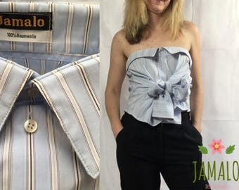 Strapless light blue boho top with a big bow, ecologically refashioned from mens shirt
