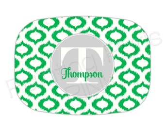 "Ikat Initial & Family Name | Choose Your Color | Personalized Melamine Platter | 10"" x 14"""