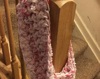 Pink with White and Purple Infinity Scarf