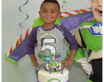 Custom SPACE RANGER Birthday Shirt Raglan with Name on Back Buzz Lightyear birthday shirt Toy Story Birthday Shirt