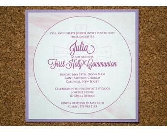 Cross Watercolor with Geometric Pattern Communion Party Invitations - Communion Invitation - Watercolor Invite - Geometric Invitations