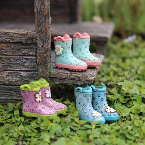 """Rainy Day Fun Boots (.75"""") for the Fairy Garden (1 Pair per Set)"""