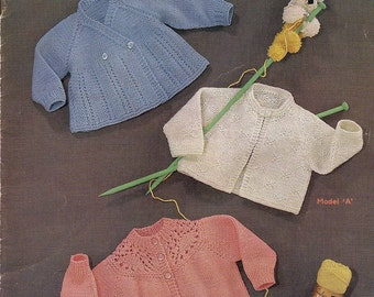 Vintage Knit Pattern Sirdar Matinee jackets to knit for Baby instant download knitting pattern