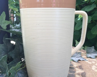 Thermo Temp Raffiaware 2 Quart Pitcher, Brown/Ivory, 1960's