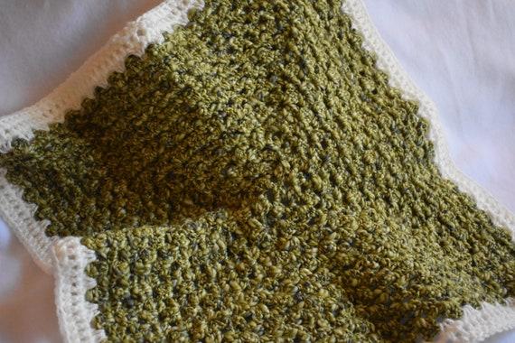 Oversized Sage Crochet Cat Mat -- Light Green & White Granny Square Pet Blanket