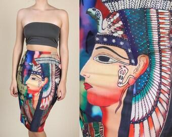 90s Cleopatra Skirt | Vintage Egyptian Stretchy Knee Length High Waisted Pencil Skirt - Medium