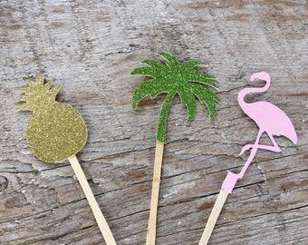 ALOHA pineapple flamingo cupcake toppers tropical island Luau Hawaiian party  bridal baby shower flamingle wedding palm tree glitter