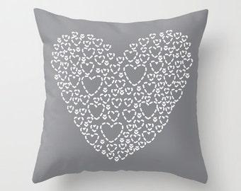 Gray Heart Pillow  - Modern Heart Pillow  - Hearts Bedding Pillow  - Decorative Pillow  - Home Decor - By Aldari Home