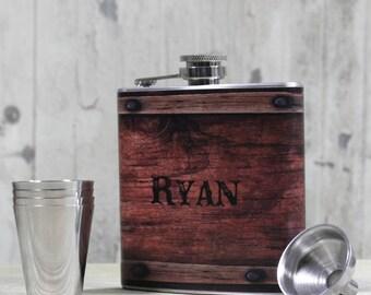 Personalized Flask, Barrel Wood Design, Custom Flask Groomsman