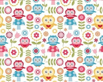 Blue Pink and Yellow Owl Fabric - Half Yard - Fine and Dandy