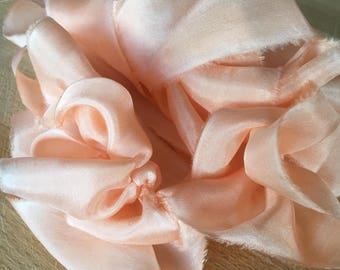 hand-dyed habotai silk ribbons in peach, stationery ~ weddings ~ bouquets ~ gifts ~paper crafts ~ styling