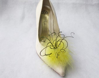 Maize Yellow Feathered Shoe Clips  More Colors Available
