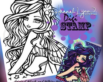 PRINTABLE Digi Stamp Fairy Coloring Page Fun Fantasy Art Hannah Lynn